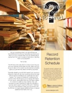 Record Retention Schedule | Cover Page | Ohio CPA Firm